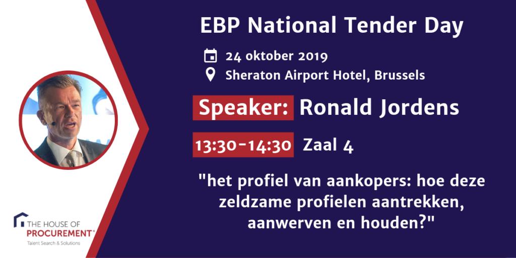 Banner Speaker Ronald Jordens EBP National Tender Day